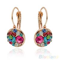 Women's Fashion Glass Coloured Glaze Rhinestone Ear Clip Crystal Earrings