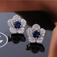 Bling  Gem Quality Vintage Elegant Flower Stud Earring Anti-allergic  Women Bling Jewellery Accessories  Bride Wedding Party