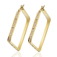 Charming Wife Gifts Stainless Steel Womens Gold Unique White Crystal Sparkle Square Hoop Earrings