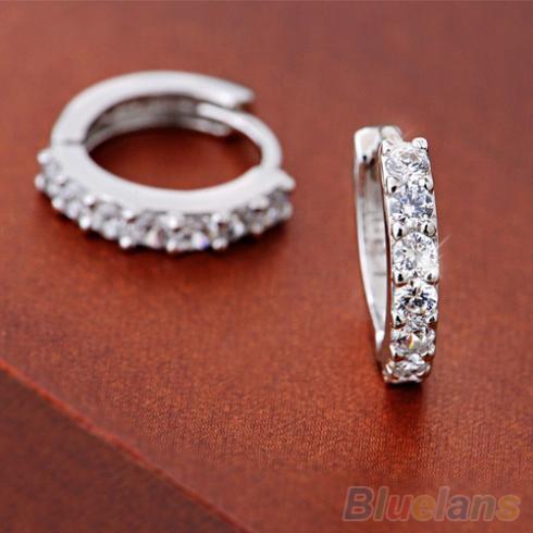Hot Fashion Jewelry White Topaz Crystal Earrings 1OYK