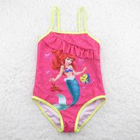1-7 Years Children Baby Swimsuit/Kids One Piece Swimwear/Girls Swimming Clothes/Free Shipping Retail 1 pc/Little Mermaid Style