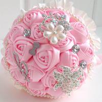 Elegant women flower bouquets pearl necklace rhinestone brooch flower bouquets five colors for women bouquets