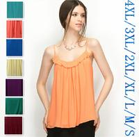 New 2015 Summer women sexy chiffon vest,fashion spaghetti strap ruffles chiffon Blouses Vest Tops,plus size  vestidos 3XL 4XL