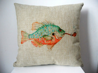 """New Cotton Linen Square Throw Pillow Case Sofa Cushion Cover  pillowcase Shell Fish With Pipe 18"""""""