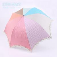 2014 new triple rainbow arched silver plastic Polka Dot Princess umbrella super sunscreen use either rain or shine