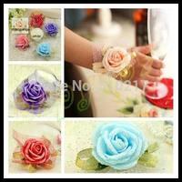 20pcs wedding handmade bridal wrist flower bridesmaid simulation rose flower wrist hand lady wrist flower sisters flower