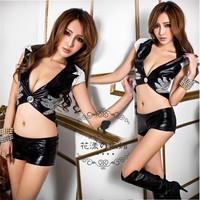 Leather DS Pole Dacning Club Wear Sequined Costumes Punk Rock Nightclub DS Cardigan Women Ballroom Dance Dress +T pants