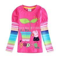 5 pcs/lot / new girls long sleeve high quality peppa pig embroidery T-shirt / children spring autumn coat /