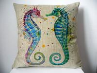"New Cotton Linen Square Throw Pillow Case Sofa Cushion Cover  pillowcase Shell Seahorse18"""