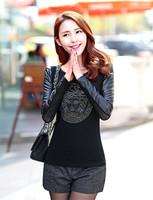 Hot Sale Women Shirt Autumn Winter T Shirt  Fashion Style Women Blouse Long Sleeve PU Leather Beauty Head Print  Plus Size E5150