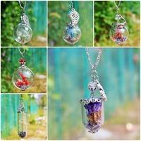 DIY Handwork Dandelion Necklace,Blue Lover Lavender,Dried Flower Botanical Pendant Tiny Glass Wishing Bottle Pendant Necklace