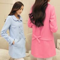 2014 women's autumn and winter outerwear double breasted medium-long woolen overcoat woolen outerwear female