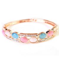 Fashion 18K Rose Gold Rhinestone Bracelet Color Opal Bangles Jewelry