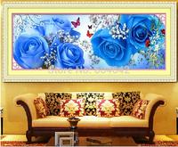 "Wall Home Decoration Cross StitchPrecision  Printing""Blue Rose "" Cross-Stitch Kit , DIY Cross Stitch Sets,"