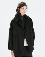 2014 New sale! ladies Chic Woolen Trench Fashion Design feeling black cloth coat,Stunning Woolen Coat