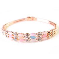 Fashion 18K Rose Gold Rhinestone Bracelet Colorful Opal Bangles Jewelry