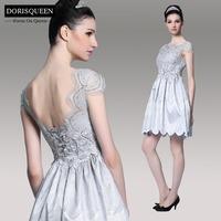 Dorisqueen vestido de festa Royal Style A-Line beaded Back Open Lace 2014 Empire Party grey Princess prom dresses 6073