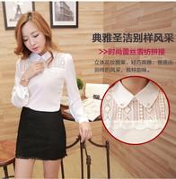 2014 new autumn Korean yards chiffon lace collar shirt Slim was thin long-sleeved shirt fashion blouses  blusas RD075