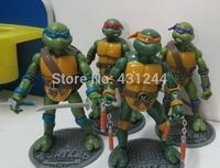 Free shipping, Classic cartoon 4 pcs/set Teenage Mutant Ninja Turtles movable joints complimentary base TMNT doll toys