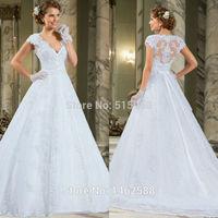 Elegant Lace Cap Sleeves V-neck Bow Belt Princess Wedding Gowns Plus Size Dress Bride 2015 New Style