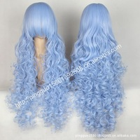 Cartoon wig 100 cm curl patrol sound/light blue long curly because