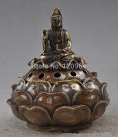 China marked Chinese Buddhism Brass lotus seat Bodhisattva Kwan-Yin GuanYin statues crafts gift Copper Bronze Tibet Silver