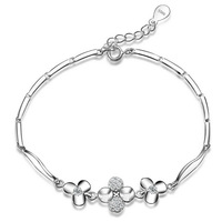 2014 New 100% Sterling Silver 925 Jewelry Whitetip Clover Bracelets & Bangles Fine Jewelry Girl Friend Gift Free Shipping !
