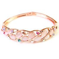 18K Rose Gold Rhinestone Bracelet Colorful Crystal Opal Bangles Jewelry