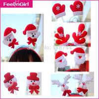 30 Pieces/lot Christmas Hair Accessories Xmas Party Santa Headband Snowflakes Decoration Ornaments