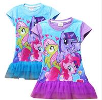 My Little Pony Baby Girls Dresses Princess Dresses Kids Summer 2 Color Cotton Short Sleeved Lace Dresses Children Party Dress
