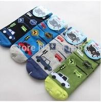 12pairs/lot  children cartoon car socks fire truck bus kid's cotton male boys' socks
