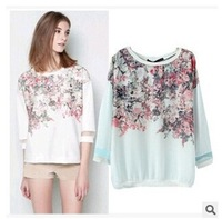 Women pastoral style printing sleeve loose casual thin section hedging Sweatshirts
