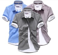 2015 spring and summer shirts Slim leisure men's short-sleeved shirts solid contrast hot selling