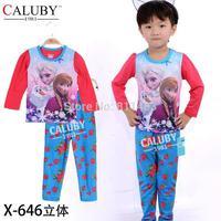 2014 baby girls 2-7 years long sleeve frozen pattern clothing set / 6 sets/lot, size 90-130