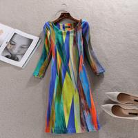 vestidos Women Autumn Winter Dress 2015 vintage Print Office party Dresses Plus Size casual novelty long sleeve Dress SY2586