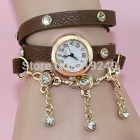 Free shipping 2015 fashion casual 2pcs creative bracelet watch diamond Wristwatches 7 colors--njui