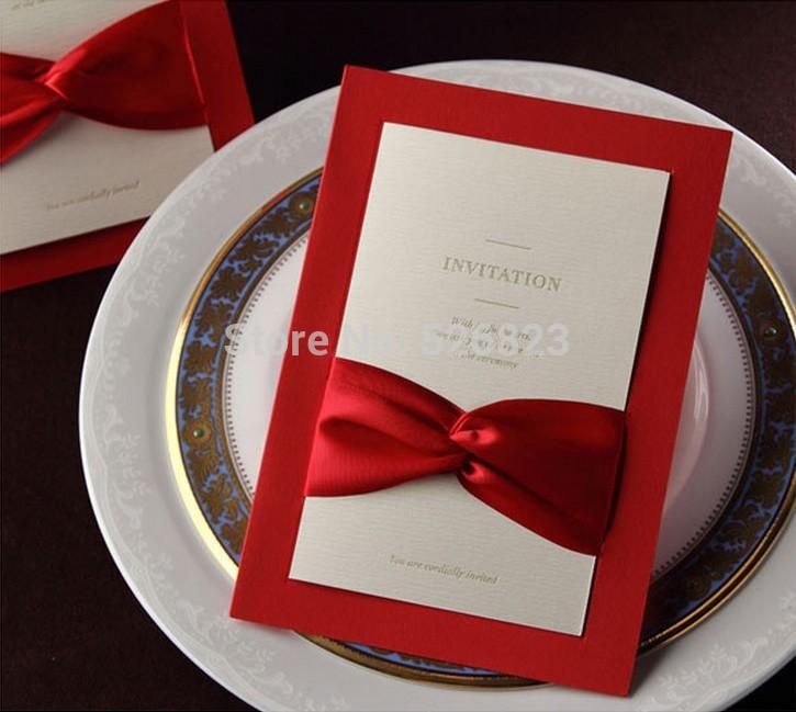 Gravado personalizado cartão de convite de casamento, convites de casamento elegante com a fita , 100PCS / lot, expresso de transporte livre(China (Mainland))