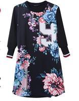 Free Shipping Euramerican New Fashion Lady's Vintage Loose Leisure Printing Number Baseball Half Sleeve Dress