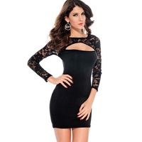 2015 New Tropical Vestido De Festa Long Sleeves Dress For Women Sexy Cut-out Bodycon Party With Neckline Lc2837 Free Shipping