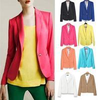 Free shipping Blazers women jacket Fashion Foldable Long Sleeves Lapel Coat women Button Vogue Blazers coat Plus size