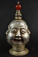 Chinese CHINESE OLD WHITE COPPER HANDWORK CARVING 4 FACE BUDDHA SNUFF BOTTLE Tibetan Antique Copper Bronze