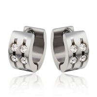 New Style Best Quality Stainless Steel Earring Studs Shiny Round Crystals For Women Men