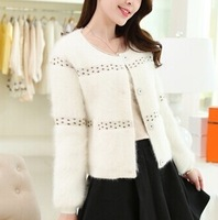 New winter han edition mohair loose single-breasted pure color knitting cardigan sweater