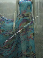 Newest 100% Real Silk Fabric Printed Chiffon Textile  Material For Dress Scarf DIY  By Meter C0845