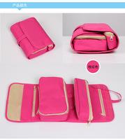 Portable 5 partitions travel bag foldable travel essential makeup bag
