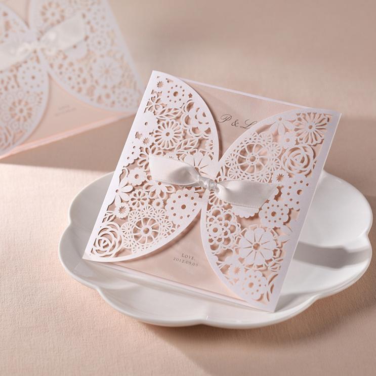 1 Set Sample Of Laser Cut White Wedding Invitation Card Wishmade (1 Card +1 Ineer sheet +1 Envelope+1 seal) BH2065(China (Mainland))