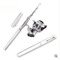 1m Telescopic  Fishing Pole Aluminum Alloy Pen Shape Fishing Rod With Reel Wheel Fish Kits