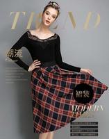 Autumn Winter Fashion Womens Vintage Retro Hepburn PlaidHigh Waist A-Line Knee-Length Midi Skirts Ball Gown