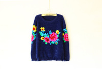 Autumn and winter new embroidered mohair loose render sweater