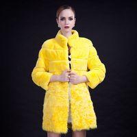 Free DHL EMS Rex Rabbit Fur Stitching Lamb Fur Coat Jacket Women High Street Luxury Elegant Winter Outwear abrigos mujer